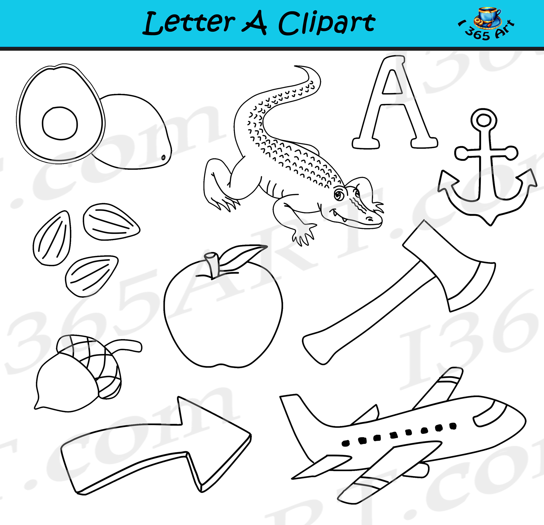 letter a objects clipart - learning the alphabets - commercial clipart