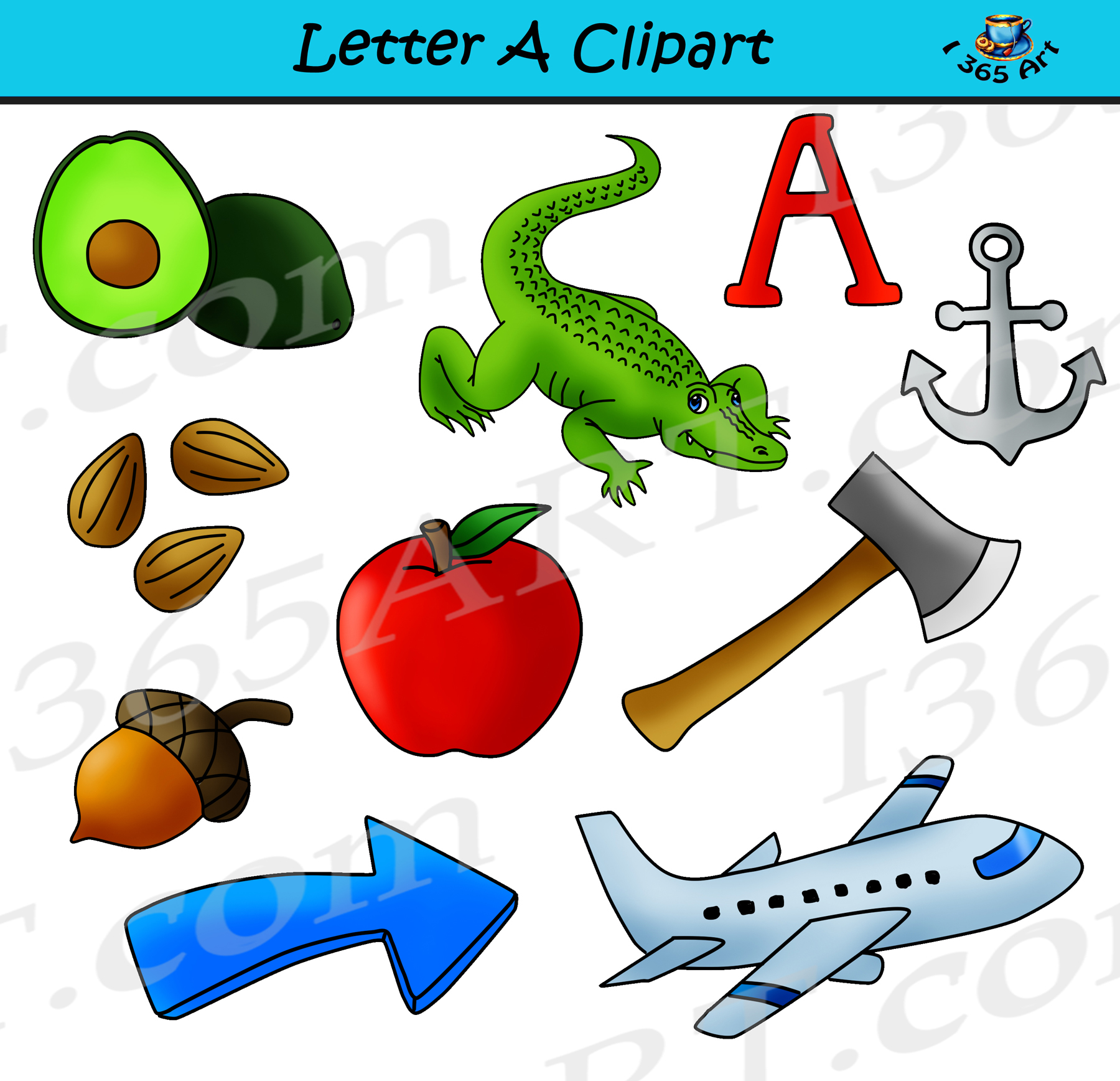 letter a objects clipart learning the alphabets commercial clipart rh clipart4school com a clipart island a+ clipart free