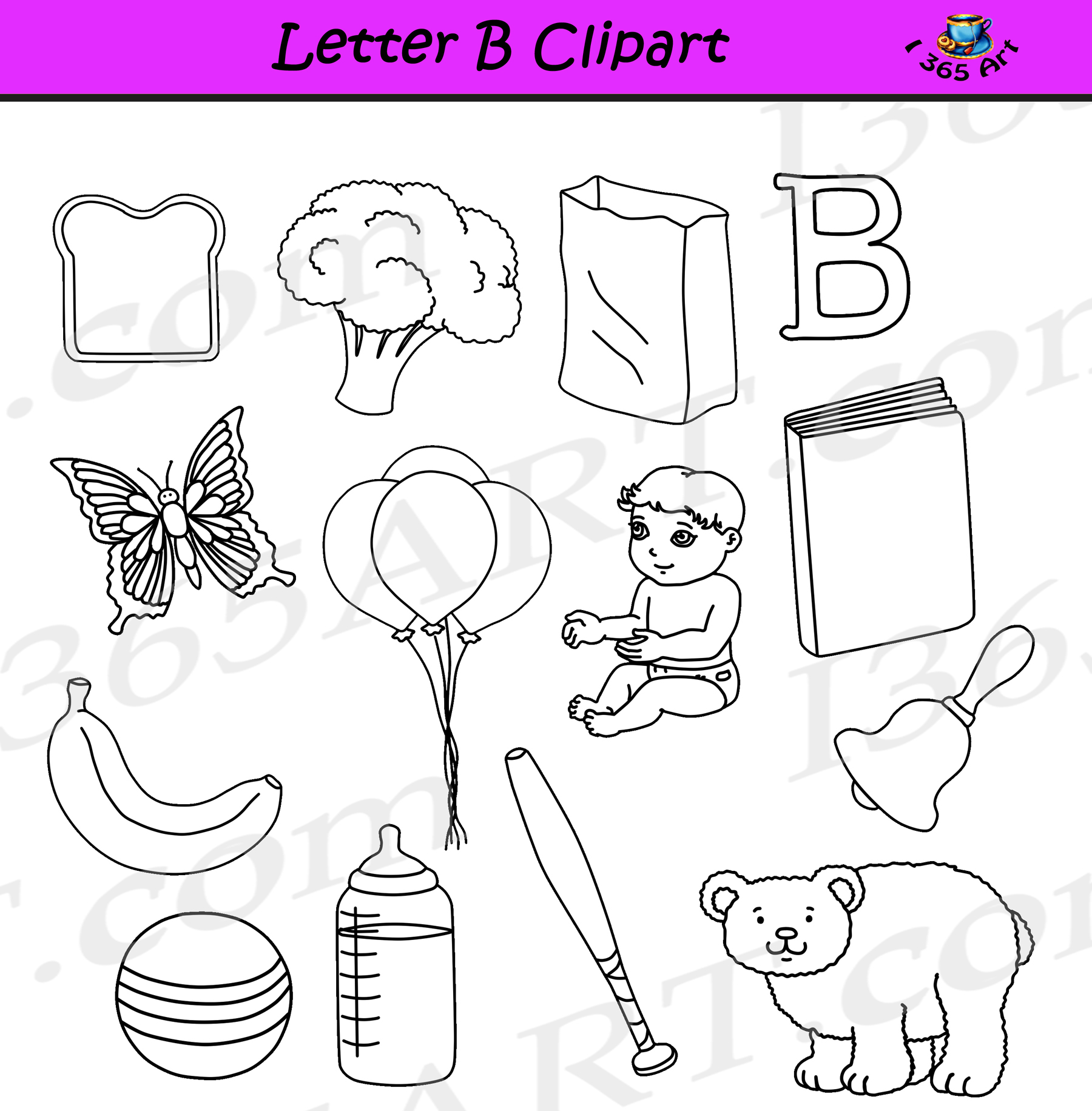 Letter B Clipart Objects