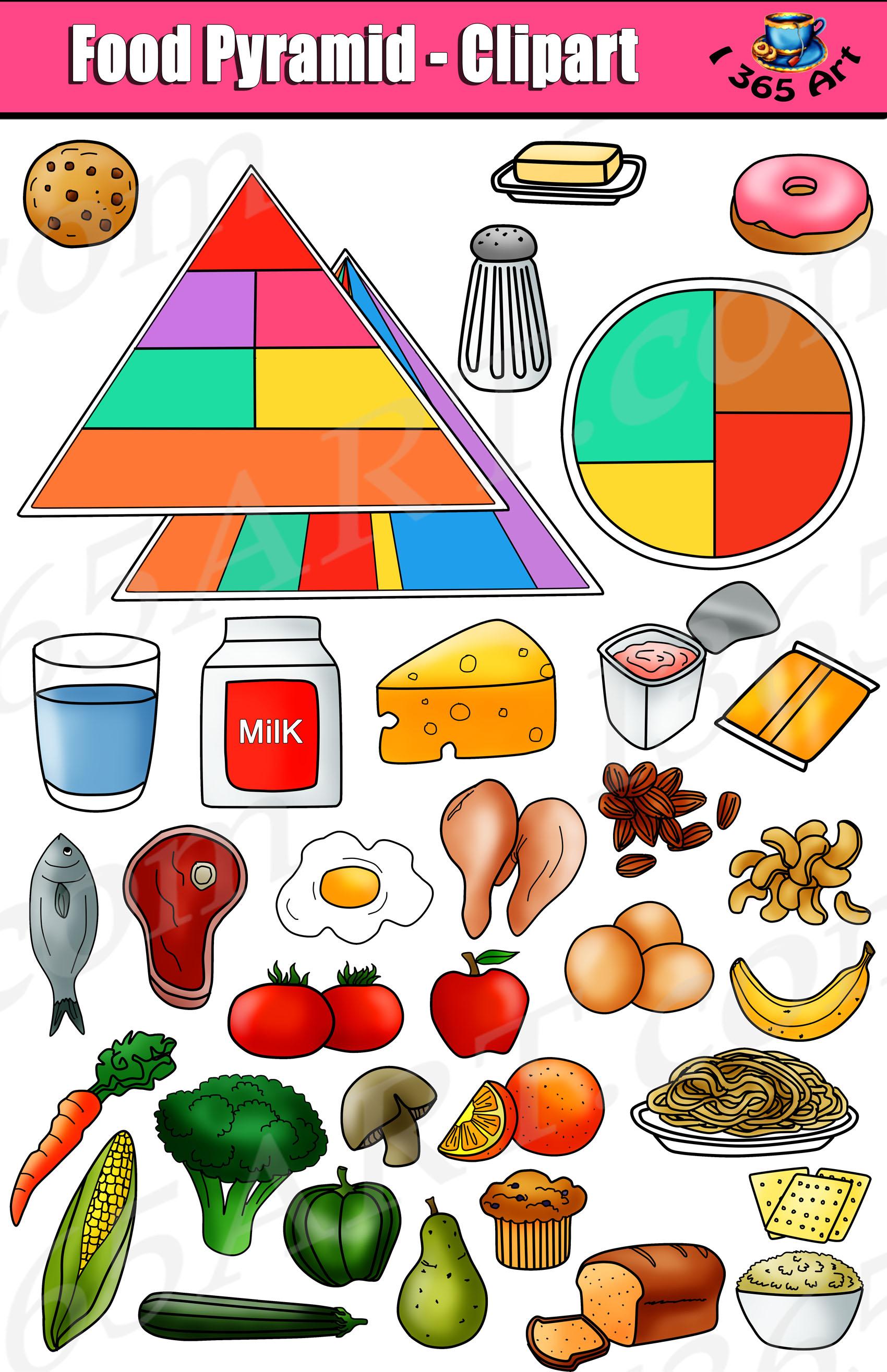 food pyramid clipart set kid s nutrition graphics clipart 4 school rh clipart4school com Canned Food Clip Art Food Clip Art