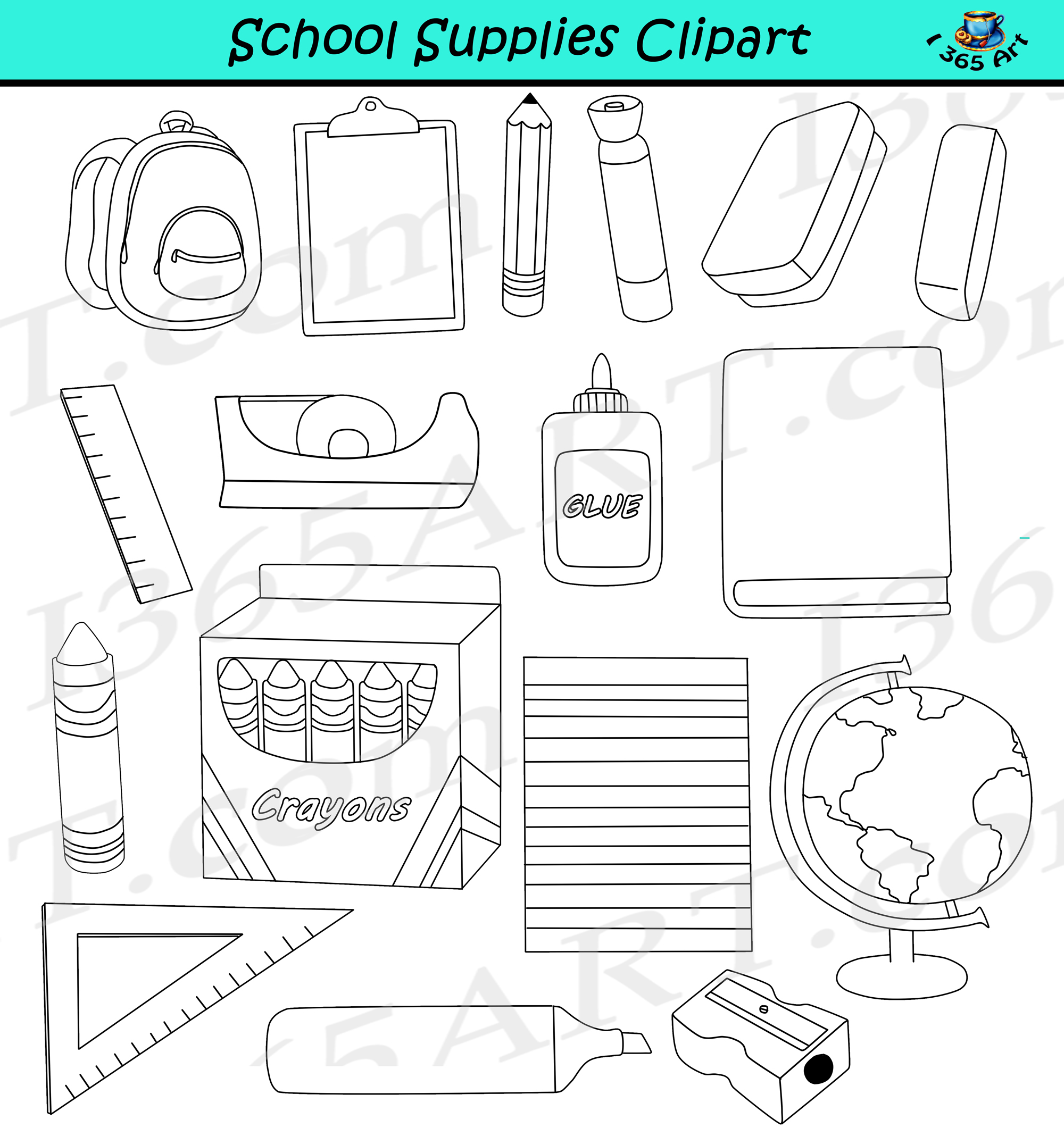school supplies clipart - back to school - commercial graphics