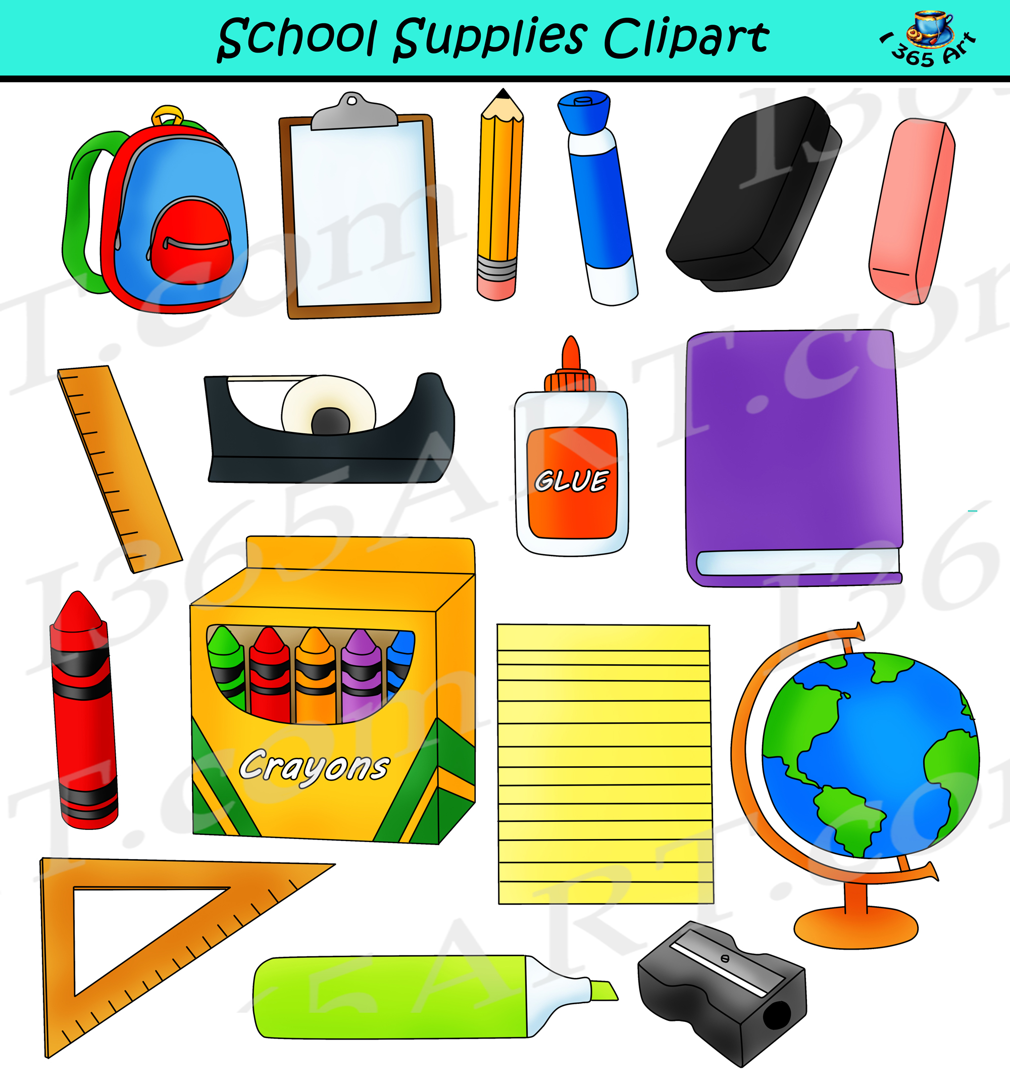school supplies clipart back to school commercial graphics rh clipart4school com clipart school supplies cute clipart school supplies