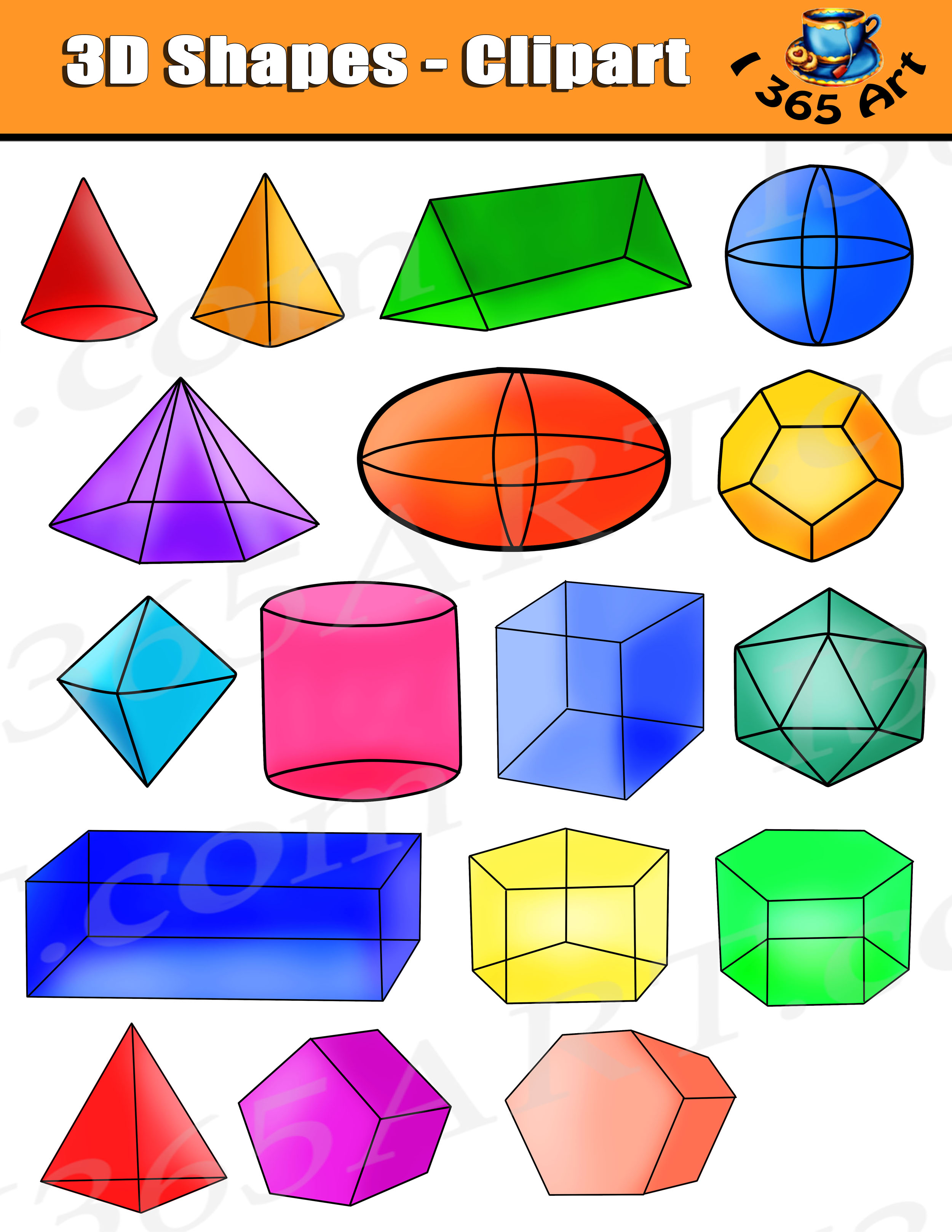 Clip Art Shapes -2D & 3D Prisms, Graphs, Cylinders and more! PPT ...