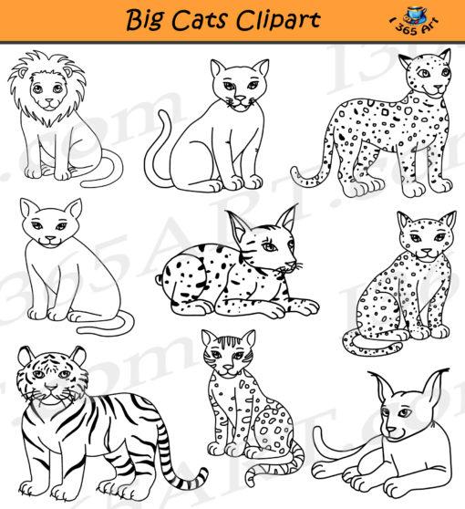 Big Cats Clipart Black & White