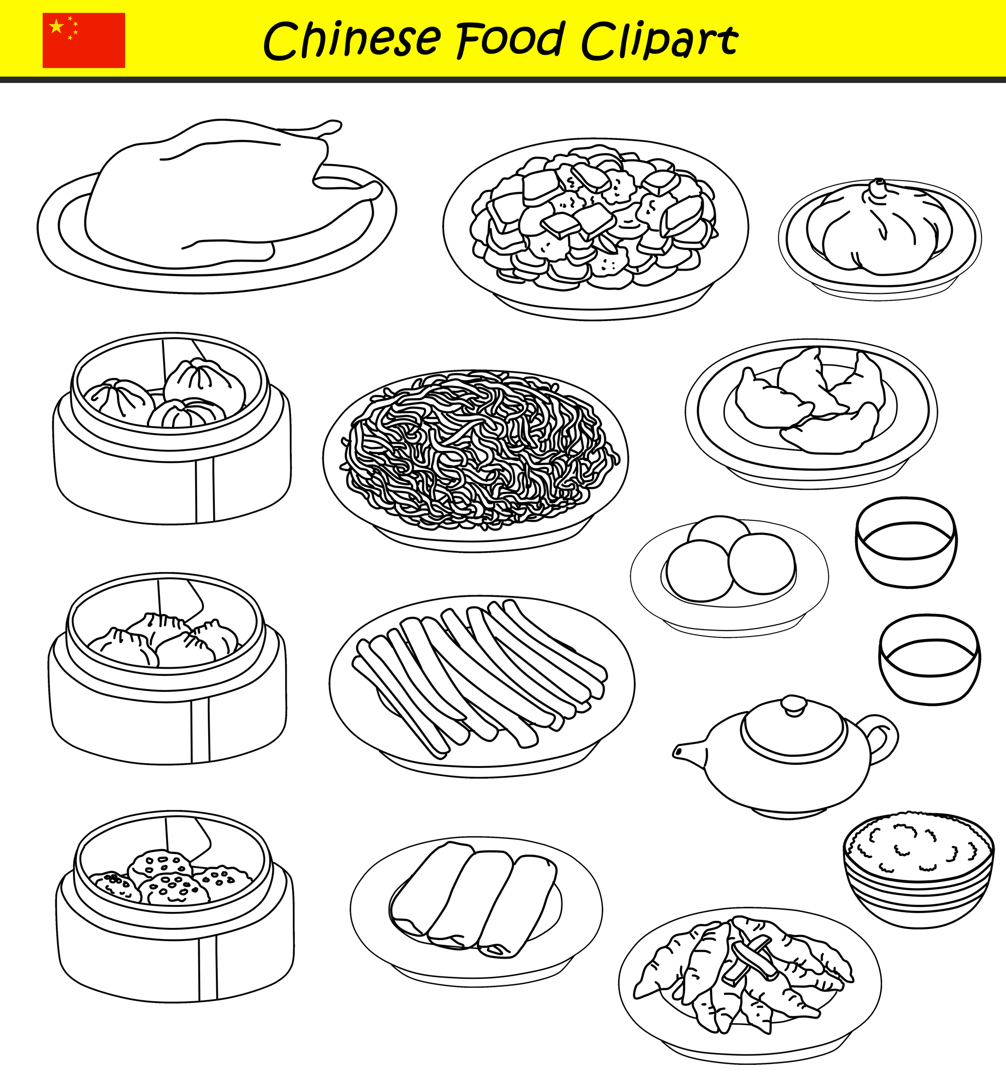 Chinese Food Bw Clip Art