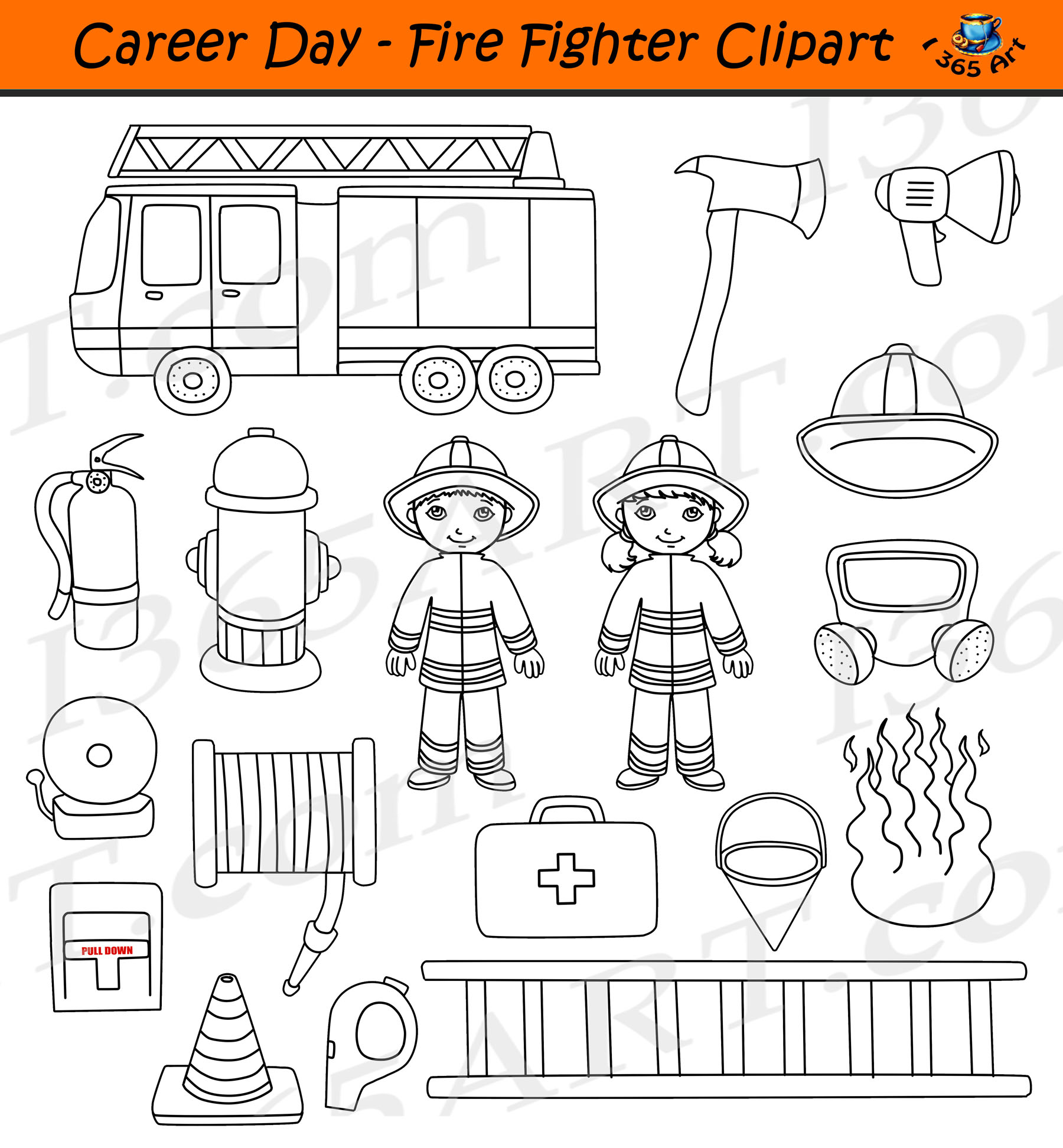 Fire Fighter Clipart Career Day Commercial Graphics Clipart For