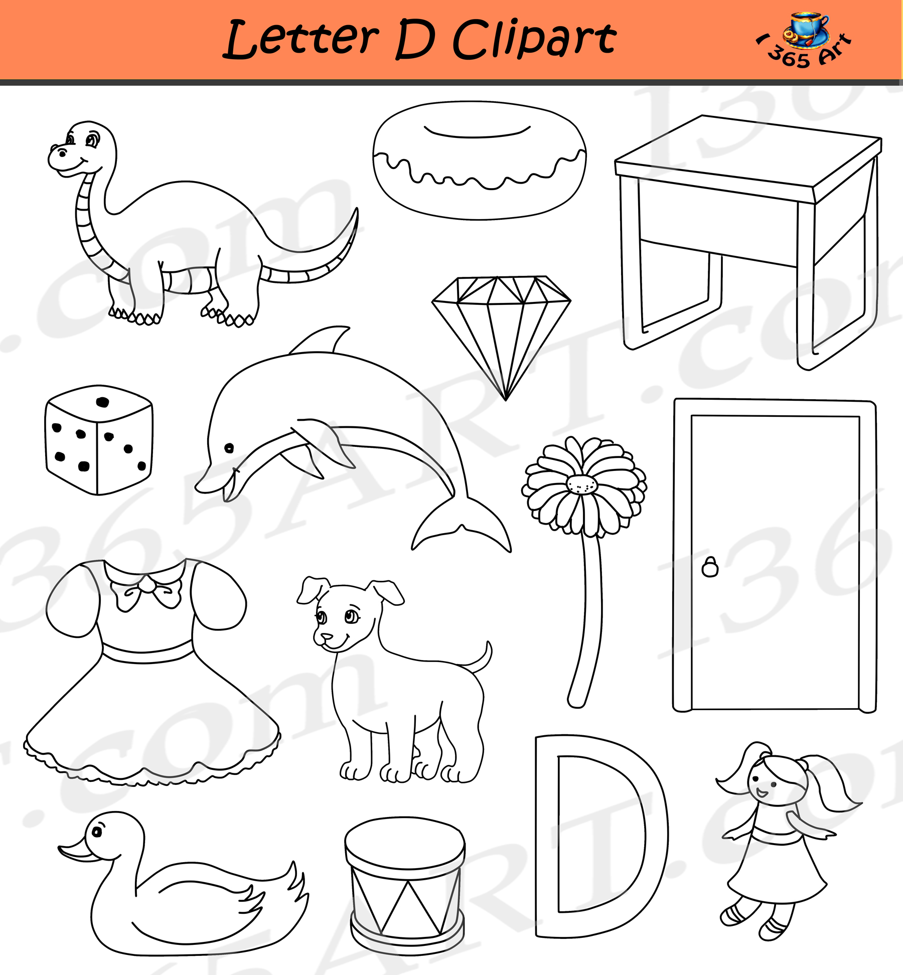 letter d clipart – commercial-use graphics - clipart for school
