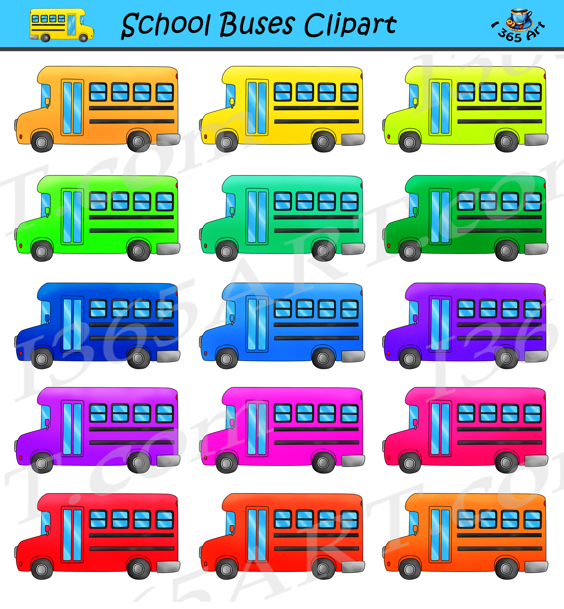 School Bus Clipart Set For Commercial Use Clipart 4 School
