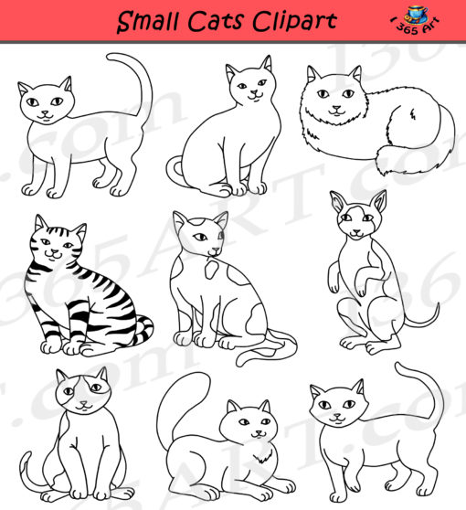 Small Cats Clipart black and white
