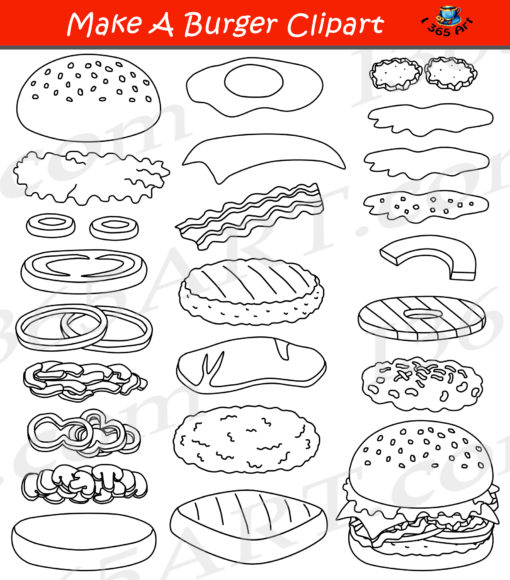 Build a Burger Clipart Black and White