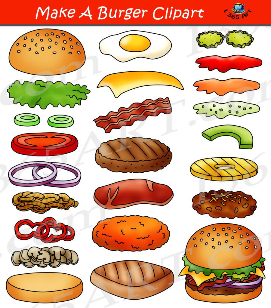 Build a burger clipart hamburger maker bundle clipart 4 for Hamburger clipart