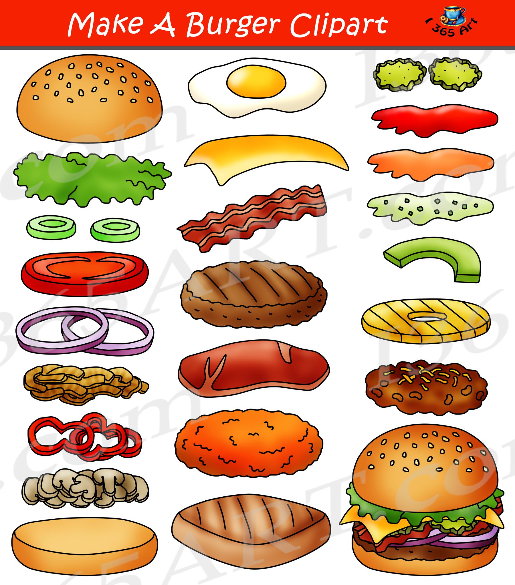 Build A Burger Clipart Hamburger Maker Bundle Clipart 4 School