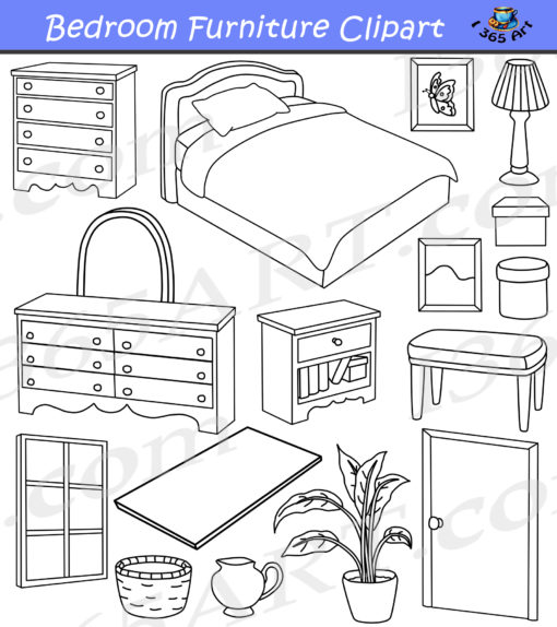 Bedroom Clipart Black and white