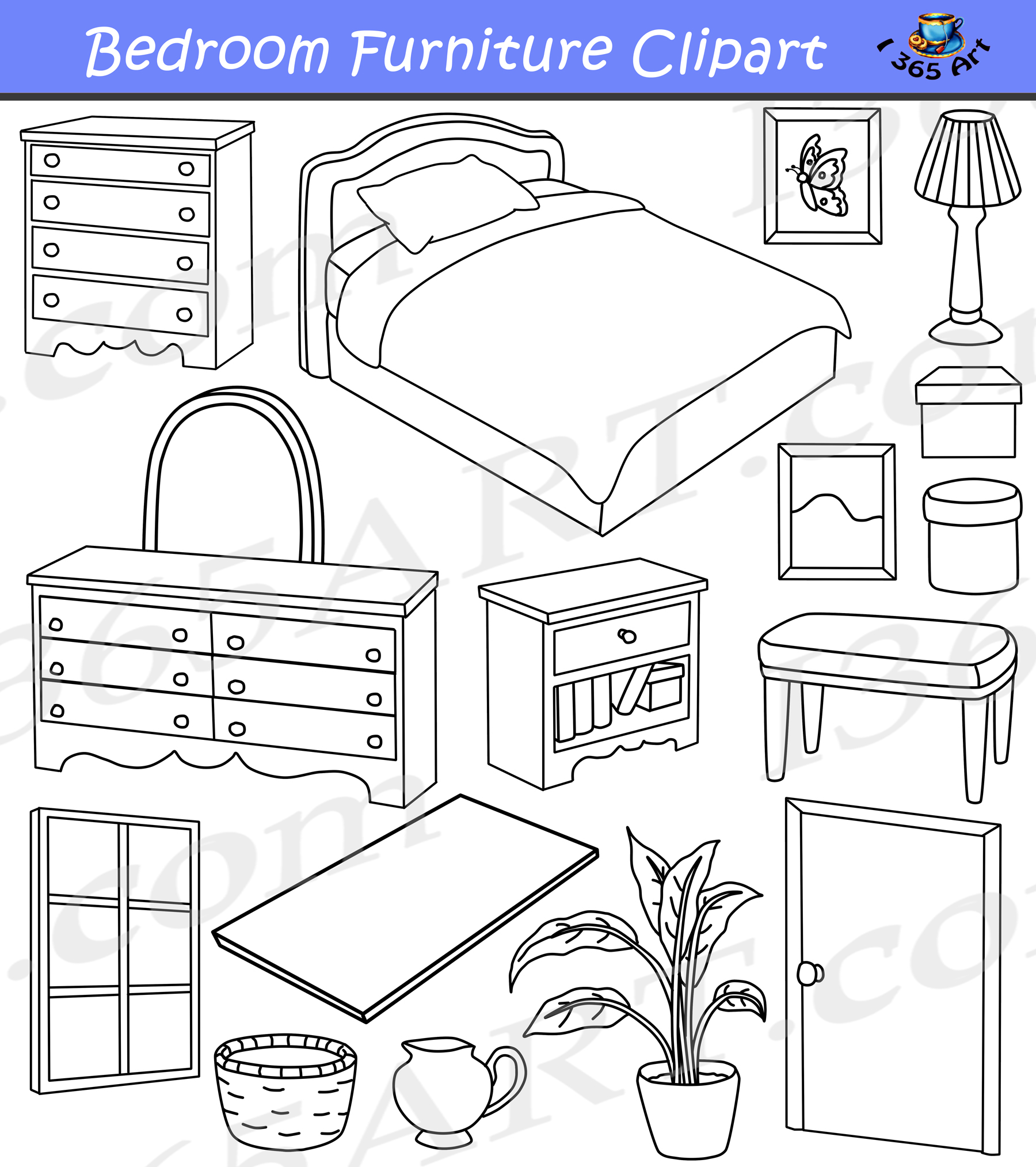 Bedroom clipart home furniture graphics commercial for Coloring pages bedroom furniture