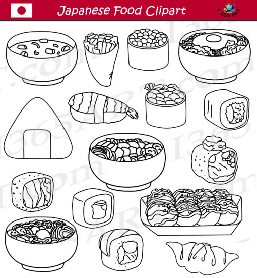Japanese Food Clipart black and white