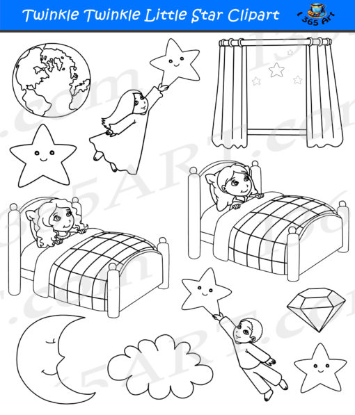 Twinkle Twinkle Little Star Clipart black and white