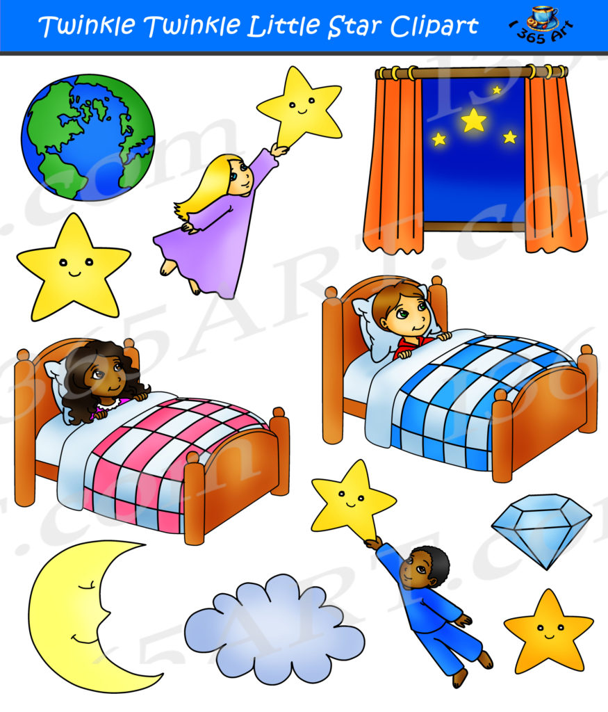 Twinkle Twinkle Little Star Clipart Set - Nursery Rhymes ...
