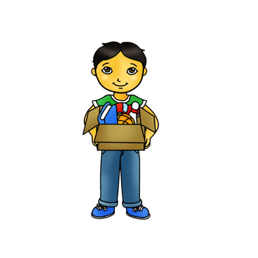Kid Holding Box Clipart