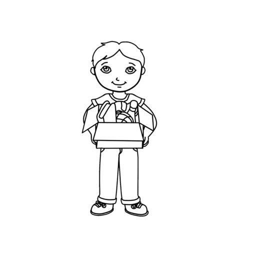 Kid Holding Box Clipart Black & White