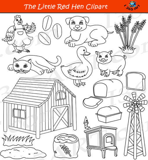 Little Red Hen Clipart Black and White