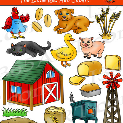 Little Red Hen Clipart Set Graphics