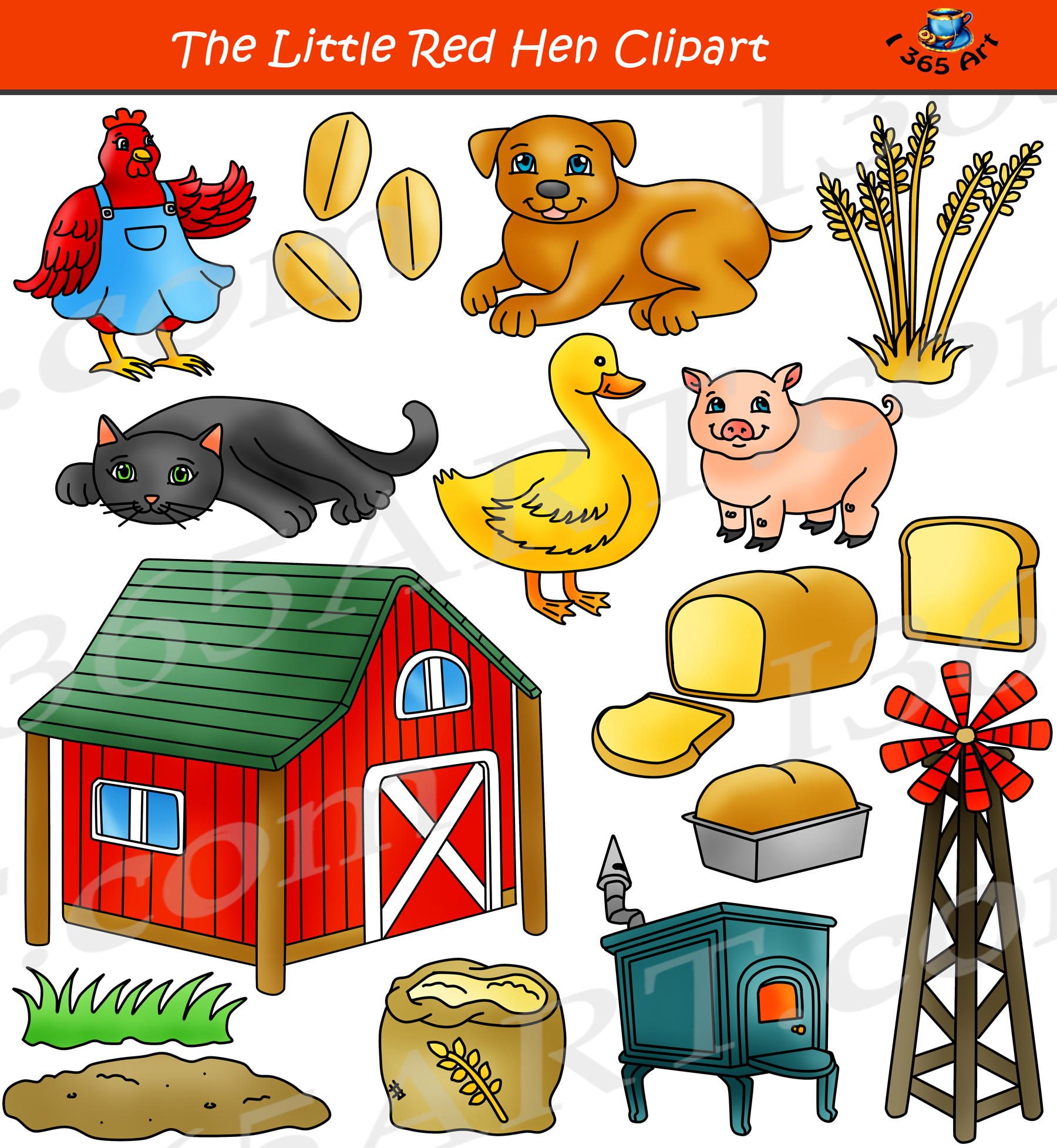 Art little. The red hen clipart