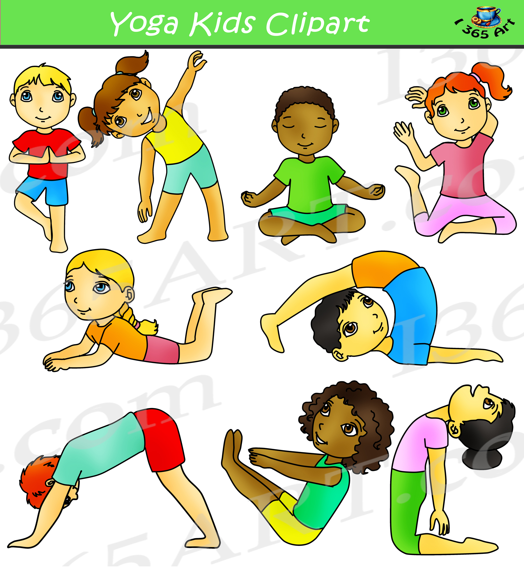 Kids Yoga Clipart Activity Set Clipart 4 School Commercial