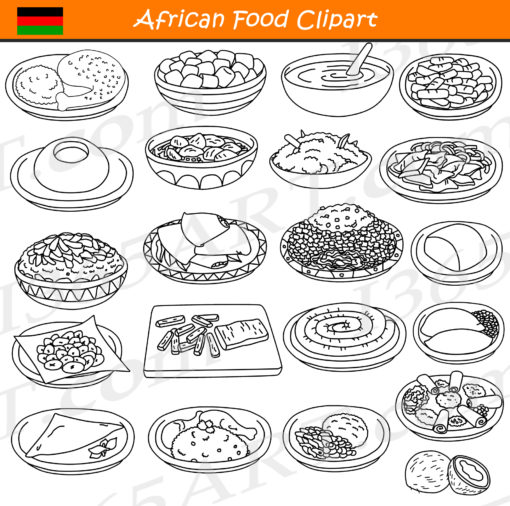 African Food Clipart Black and White
