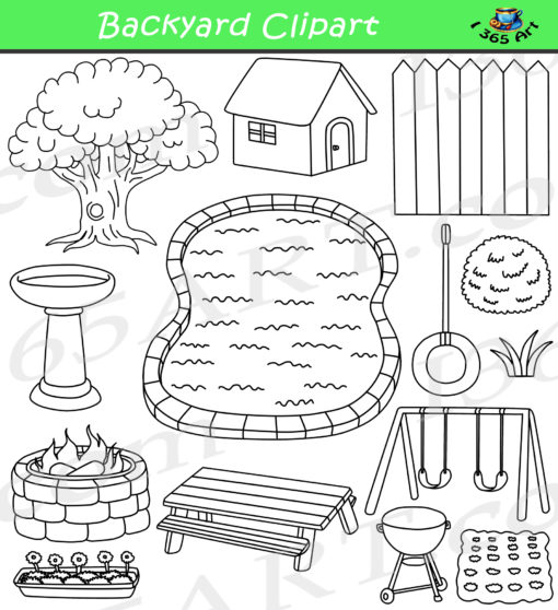 Spring Backyard Clipart Black and White