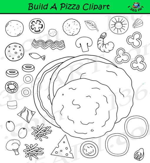 Build Pizza Clipart Set Black and White