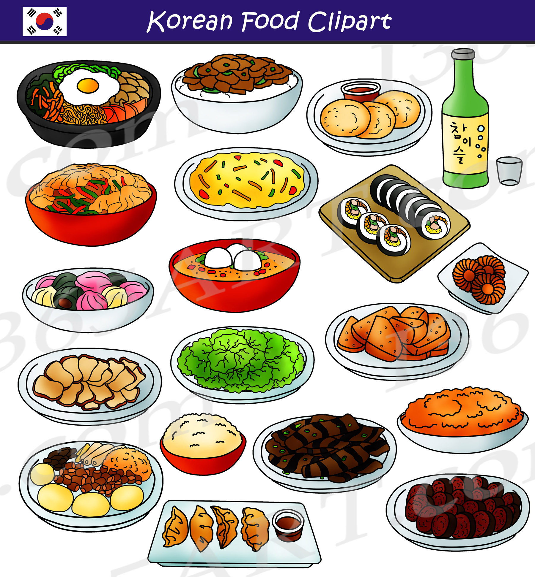 Korean Food Clipart Set