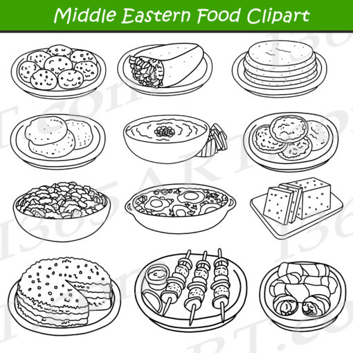 Middle Eastern Food Clipart Black and White