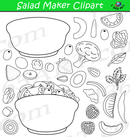 Build A Salad Clipart Black and White