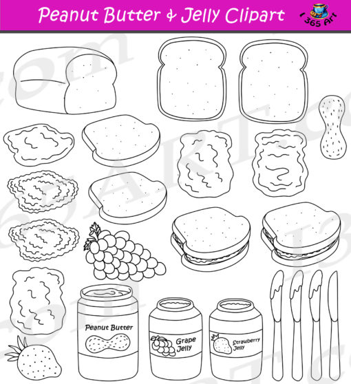 Peanut Butter Jelly Clipart Black & White
