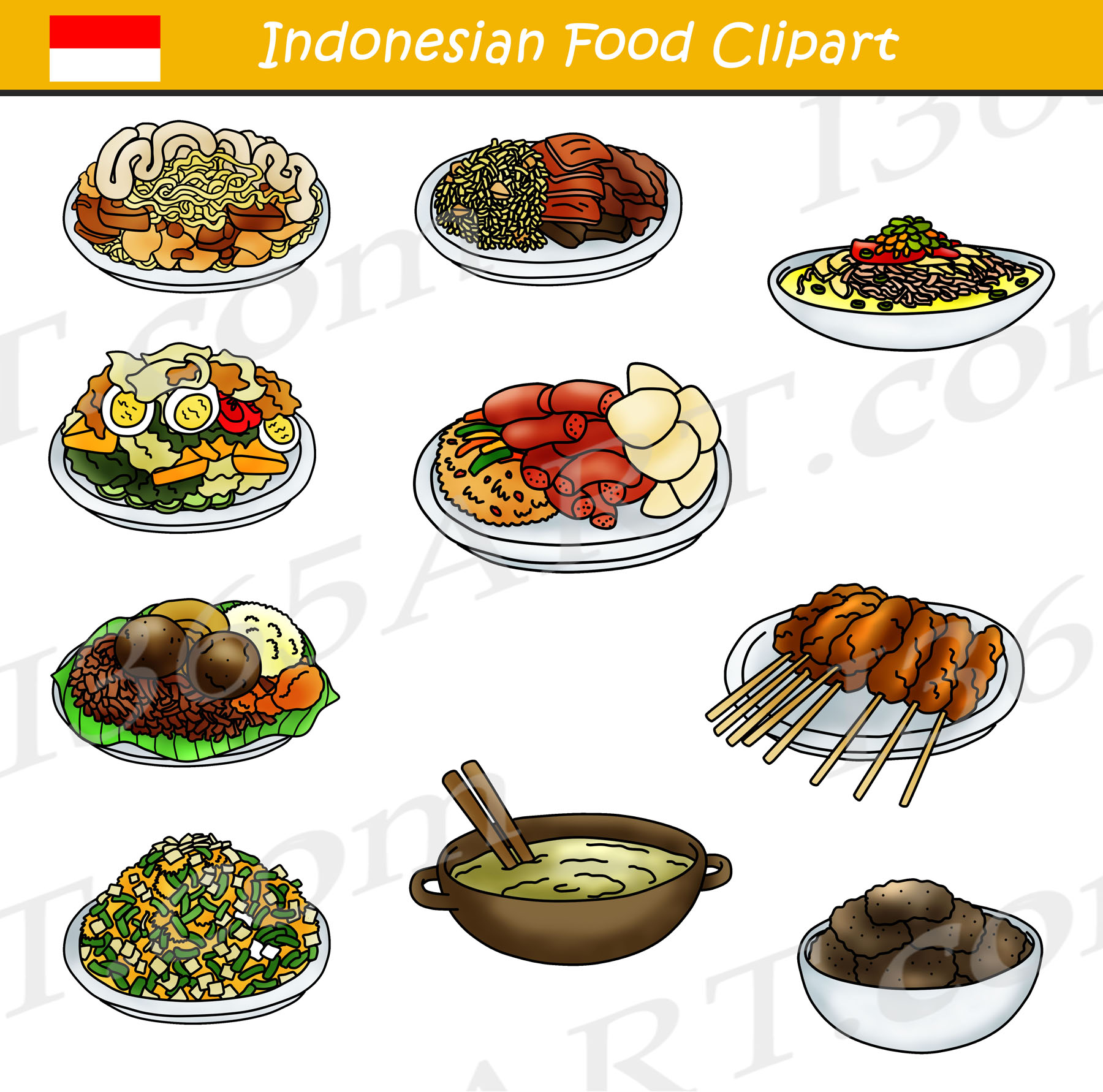 food clipart indonesian filipino bundle chinese indian graphics japanese korean indonesia asian dishes foodclipart recipes