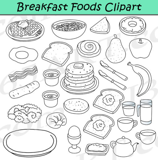 breakfast foods clipart black and white