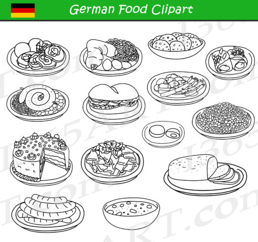 German Food Clipart Black and White