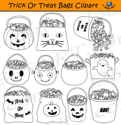 trick or treat bags clipart Black and White