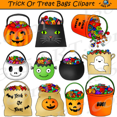 trick or treat bags clipart