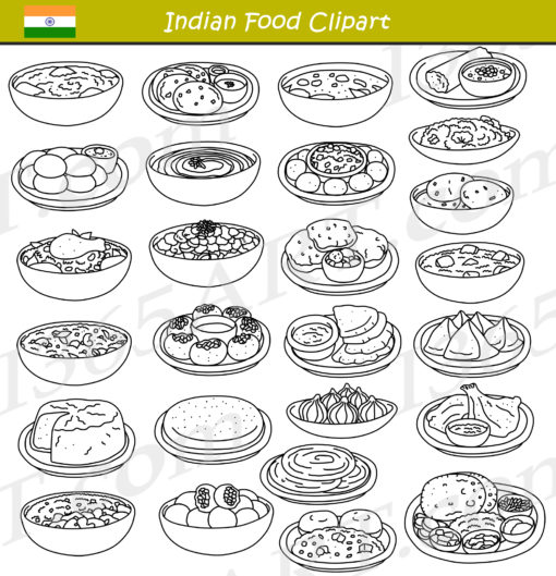 indian food clipart black and white