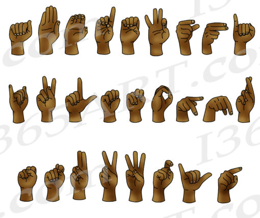 asl alphabet clipart brown skin