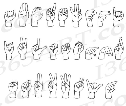 asl alphabet clipart black and white