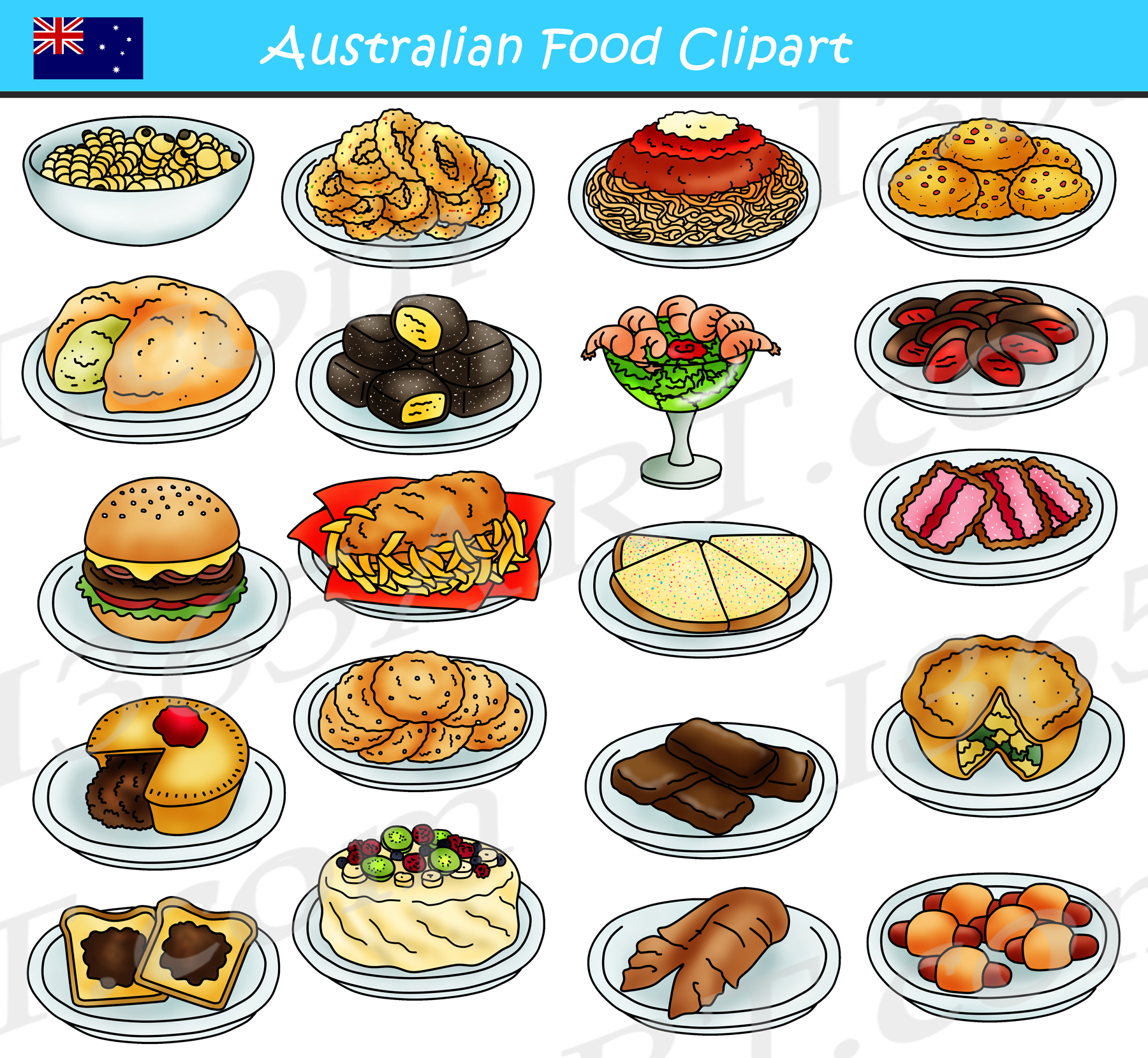 australian food clipart clip australia graphics snacks meals snack aussie teacherspayteachers cliparts clipground