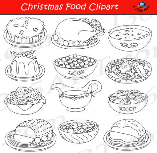 christmas food clipart black and white