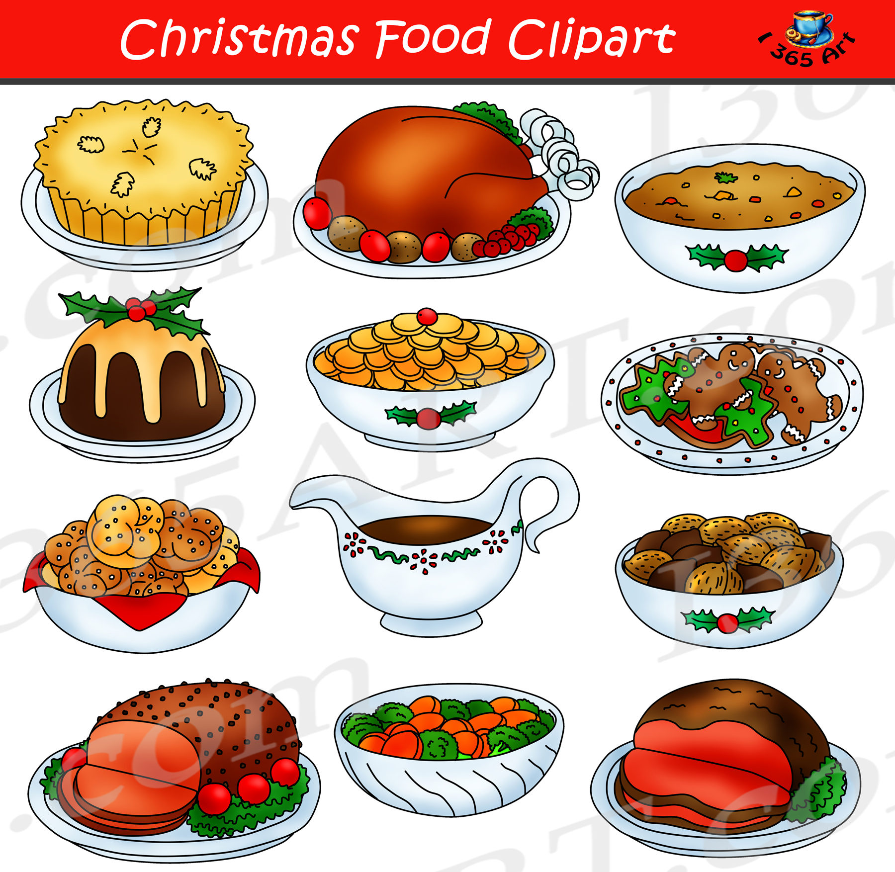 Christmas Food Clipart Graphic Set Clipart 4 School