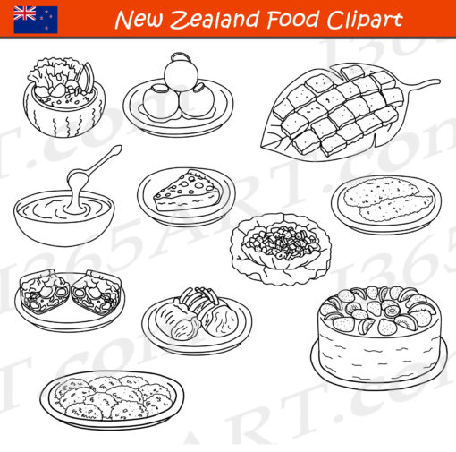 new zealand food clipart black and white