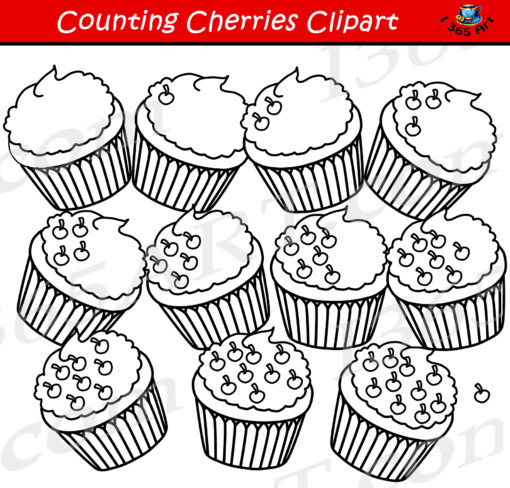 counting cherries clipart black and white