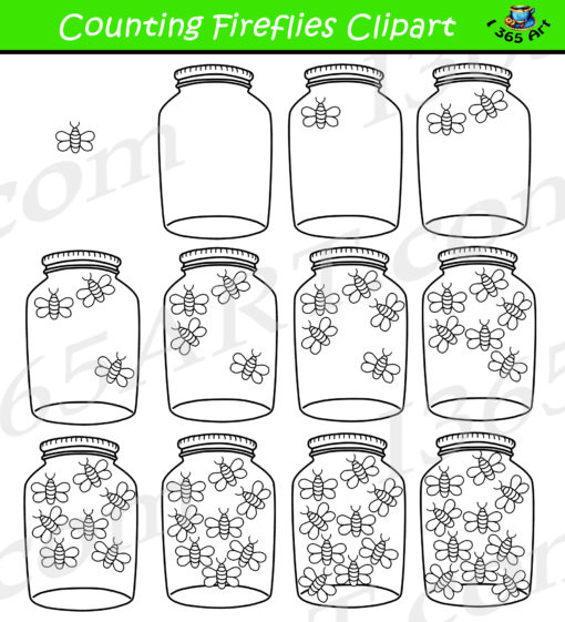 counting fireflies clipart black and white