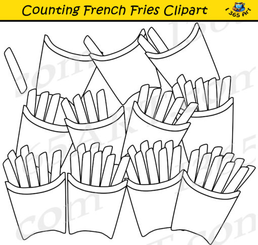counting french fries clipart black and white
