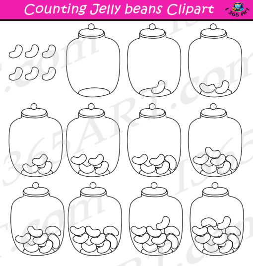 counting jelly beans clipart black and white